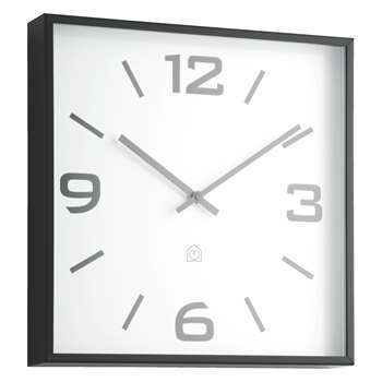 Quayle Black square wall clock 30 x 30cm