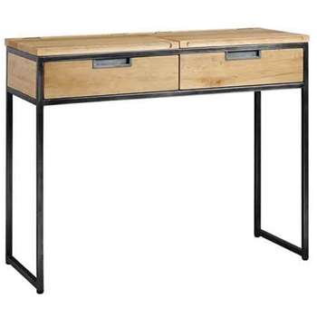 Qubix Industrial Desk - Solid oak and steel (83 x 100cm)