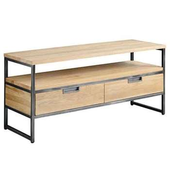 Qubix Industrial Media Unit  - Solid oak and steel (55 x 120cm)