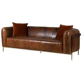 Quentin Brown Leather Sofa (H77 x W240 x D90cm)