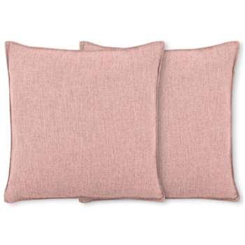 Quintus Set of 2 Linen Blend Cushions, Dusky Pink (H45 x W45cm)