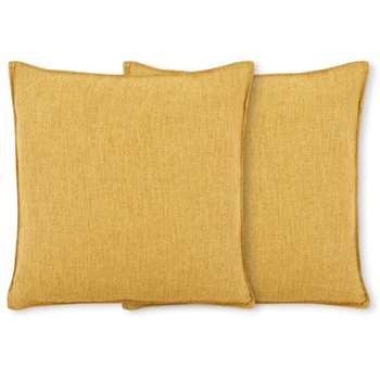 Quintus Set of 2 Linen Blend Cushions, Mustard Yellow (H45 x W45cm)