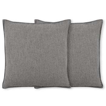 Quintus Set of 2 Linen Blend Cushions, Stone Grey (H45 x W45cm)