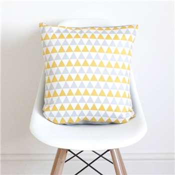 QuirkyBee Geometric Yellow And Grey Cushion Cover (45 x 45cm)