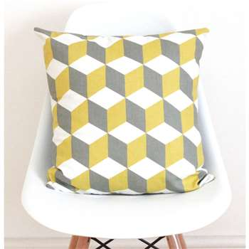 QuirkyBee Geometric Yellow And Grey Linen Cushion Cover (45 x 45cm)