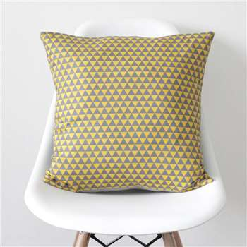 QuirkyBee Geometric Yellow And Grey Triangles Cushion Cover (45 x 45cm)