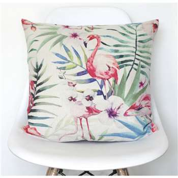 QuirkyBee Tropical Flamingo Print Cushion Cover (45 x 45cm)