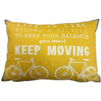 "Racing Green ""Cycles/Hats"" Decorative Printed Filled Cushion, Grey/Yellow, 38 x 28 cm"