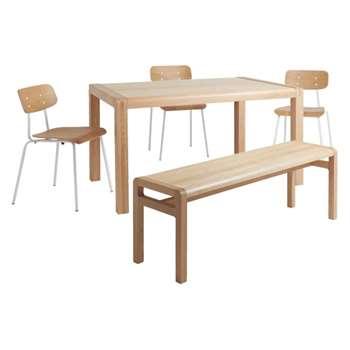 Radius 6 seater dining set with Radius oak table, Radius oak bench and 3 Hester white chairs