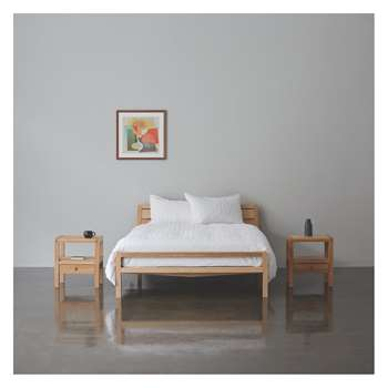 Radius Oak Kingsize Bed with Islo Mattress and 2 Bedside Tables (H84 x W158 x D220cm)