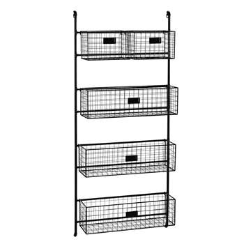 RAFAEL Black Metal Wall Shelf Unit with 5 Removable Baskets (H125 x W55 x D18cm)