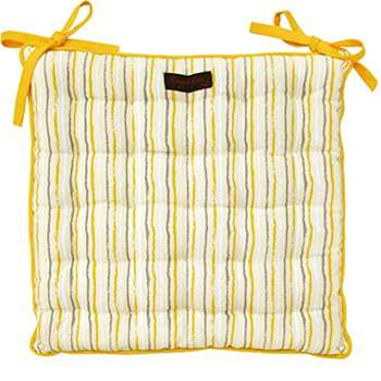 Ragged Rose Cotton Paddy Golden Stripe Seat Pad Cushion (40 x 40cm)