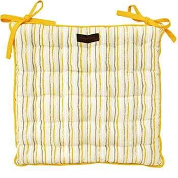 Ragged Rose Cotton Paddy Golden Stripe Seat Pad Cushion (40 x 40cm)