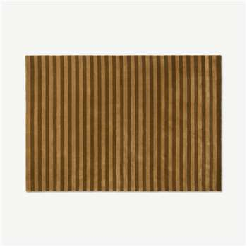 Raidal Striped Viscose Rug, Caramel (H160 x W230cm)