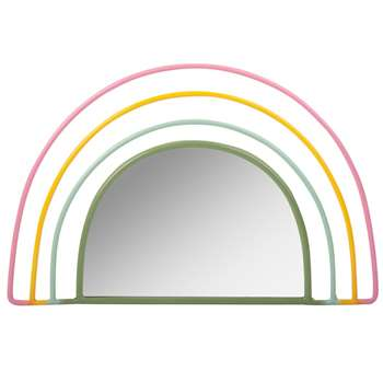 Rainbow Mirror with Coloured Metal Wire (H22 x W34 x D0.5cm)