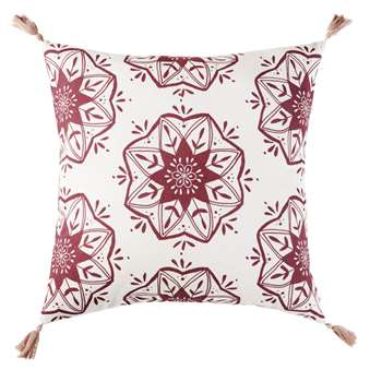 RAJA Cotton Outdoor Cushion with Pink Pom Poms and Print (H45 x W45 x D10cm)