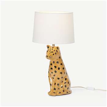 Raja Leopard Ceramic Table Lamp, Tan (H54 x W27 x D27cm)
