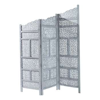 Rajasthan Wooden Folding Screen In Grey (152 x 182 x 2cm)