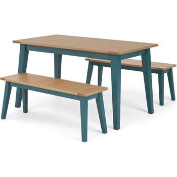 Ralph 4 Seat Compact Dining bench set, Oak and Teal (H76 x W140 x D80cm)