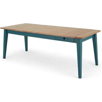 Ralph 6-8 Seat Extending Dining Table, Oak and Teal (H77 x W214 x D87cm)