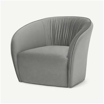 Ramiro Accent Armchair, Light Grey Velvet (H70 x W82 x D84cm)