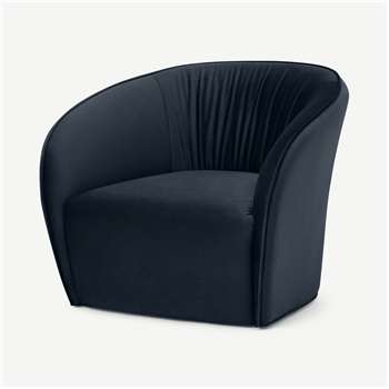 Ramiro Accent Armchair, Twilight Blue Velvet (H70 x W82 x D84cm)