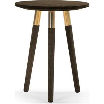 Range Side Table, Dark Stain Ash Veneer and Brass (55 x 43cm)