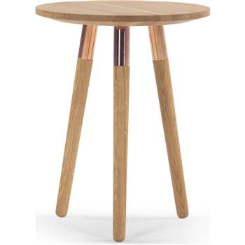Range Side Table, Solid Oak and Copper (55 x 43cm)