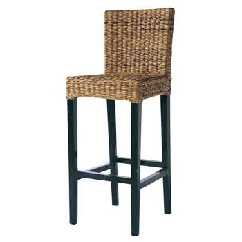 RANGOON Abaca and solid mahogany bar chair (112 x s5cm)