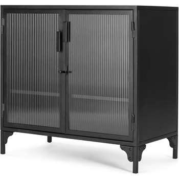 Rankin Compact Cabinet, Ribbed Glass and Black Metal (H80 x W83 x D45cm)