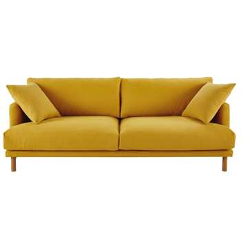 RAOUL Mustard Yellow 3-Seater Cotton and Linen Sofa (H86 x W227 x D97cm)