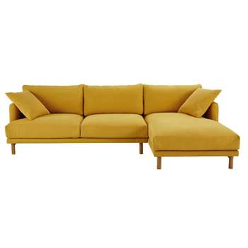 RAOUL Mustard Yellow 5-Seater Cotton and Linen Right-Hand Corner Sofa (H86 x W284 x D158cm)