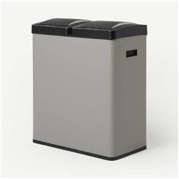 Rask 60L Touch-Free Sensor Recycling Bin X2 30L, Cool Grey (H68 x W59 x D29cm)