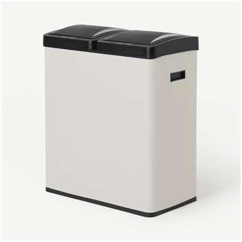 Rask 60L Touch-Free Sensor Recycling Bin X2 30L, Off-White (H68 x W59 x D29cm)