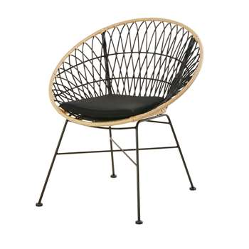 Rattan-Effect and Black Resin Garden Armchair, Black (H80 x W73 x D66cm)