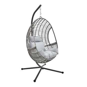 Rattan Effect Hanging Egg Chair - Grey (H197 x W110 x D96cm)