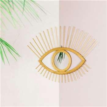 Rattan Eye Mirror (H49 x W70 x D1.5cm)