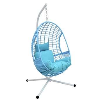 Rattan Hanging Egg Chair - Blue (H197 x W110 x D96cm)