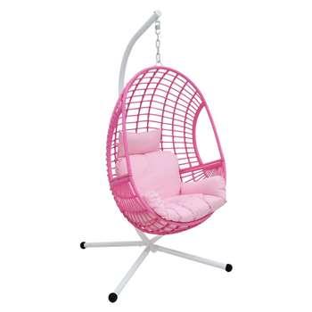 Rattan Hanging Egg Chair - Pink (H197 x W110 x D96cm)