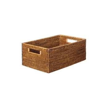 Rattan Low Delta Storage Box, Small (16 x 40cm)