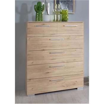 Rauch Belao 2+4 Drawer Chest in Jackson Hickory (H100 x W80 x D42cm)