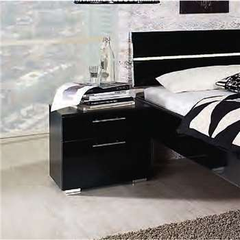 Rauch Mavi Extra 2 Drawer Bedside Cabinet in Black (H49 x W50 x D42cm)