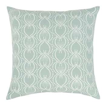 RAVELS - Blue Cotton Cushion Cover with White Embroidery (H40 x W40cm)