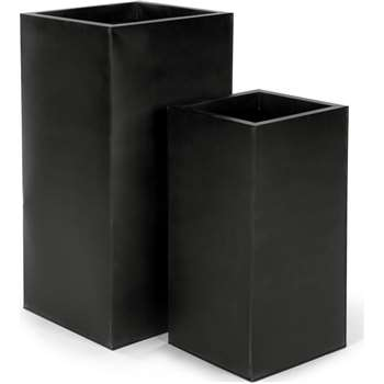 Razan Set Of Two Tall Galvanized Square Planters, Black (H38 x W30 x D30cm)
