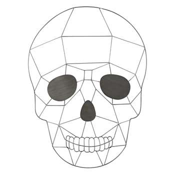 REBEL - Grey Metal Skull Wall Art (H61 x W44 x D14cm)