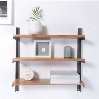 Reclaimed Wood And Steel Industrial Style Shelf Unit (H60 x W60 x D15cm)