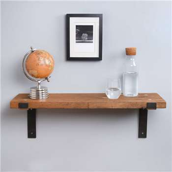 Reclaimed Wood Industrial Style Heavy Duty Shelf (H4 x W80 x D23cm)