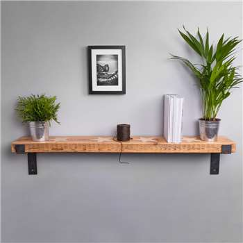 Reclaimed Wood Industrial Style Star Shelf (H5 x W117 x D18cm)