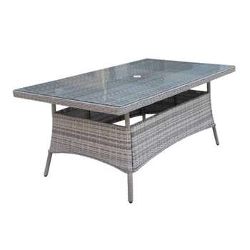 Rectangular Rattan Garden Dining Table in Grey (72 x 180cm)