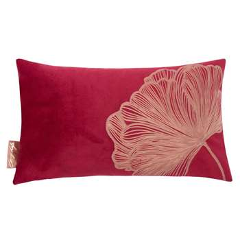 Red Cushion Cover with Floral Print (H30 x W50cm)
